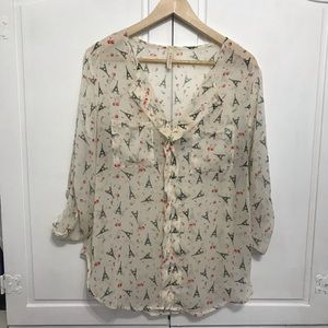 My Beloved Paris Eiffel Tower Sheer Blouse - Med